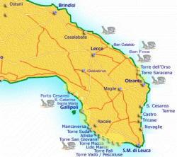Cartina Puglia Costa Adriatica.Nimar58 Italia Salento
